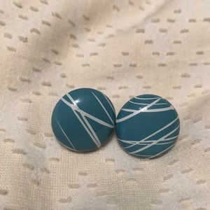 Blue painted circle studs